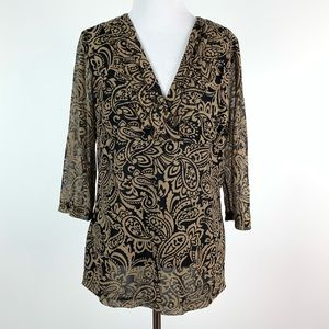 Willie Smith top size L brown black paisley v-neck